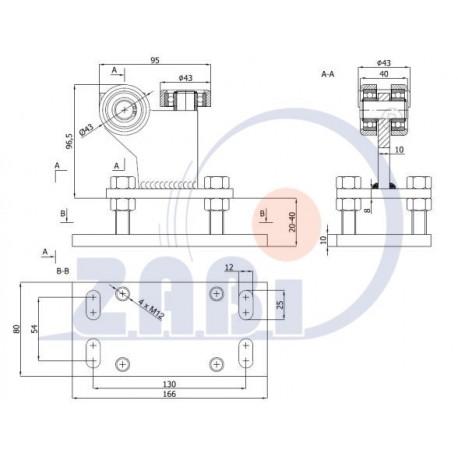 Wózek do bramy - 3 rolkowy, stały (PROFIL 50x50x3mm) - R-3MM-50