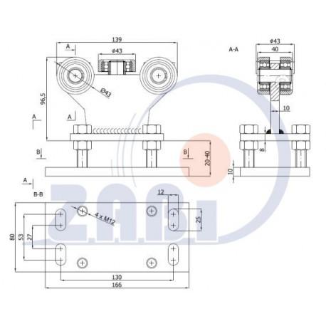 Wózek do bramy - 5 rolkowy, stały (PROFIL 50x50x3mm) - R-5MM-50